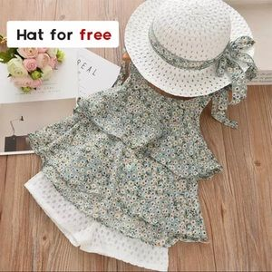 Toddler girls summer outfit and hat